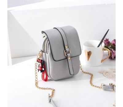 Маленькая женская сумка-клатч светло-серая