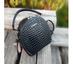 Женская красивая сумка-клатч черная под кожу рептилии