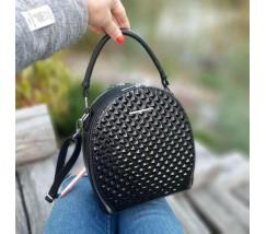 Женская красивая сумка-клатч черная с ромбиками