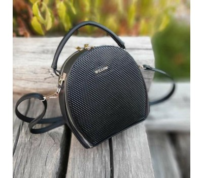 Женская красивая сумка-клатч черная с мелкой текстурой