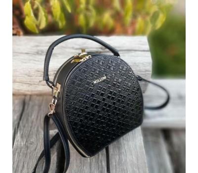 Жіноча гарна сумка-клатч чорна з візерунком