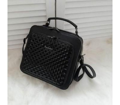 Квадратная женская сумка черная Ромбики