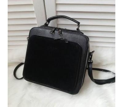 Квадратная женская сумка черная с замшем