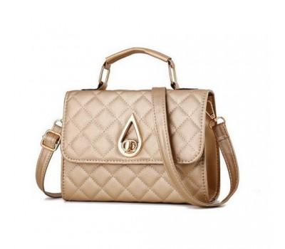 Женская маленькая сумка Капелька золотистая