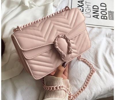Женская сумка Гуччи с подковой розовая