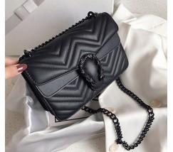 Женская сумка Гуччи с подковой черная