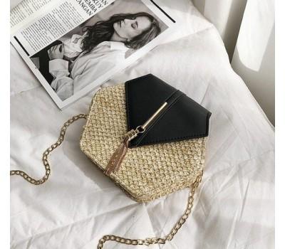 Плетеная соломенная женская сумка черная