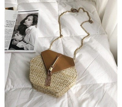 Плетеная соломенная женская сумка коричневая