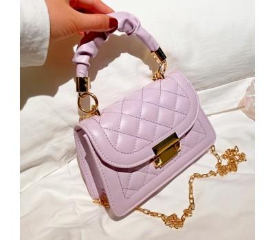 Модная маленькая сумочка из эко-кожи сиреневая