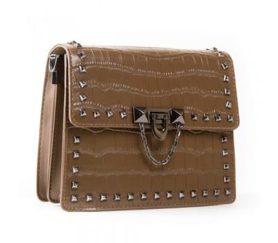 Маленькая женская сумка с заклепками хаки