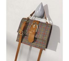 Женская сумка в клеточку из ткани серая