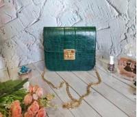 Жіноча сумка клатч під шкіру рептилії зелена