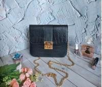 Женская сумка клатч под кожу рептилии черная