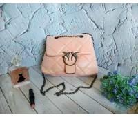 Женская мягкая сумка с птицами розовая