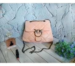 Жіноча м'яка сумка з птахами рожева