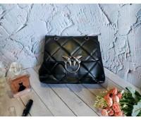 Женская мягкая сумка с птицами черная