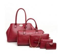 Жіноча сумка набір 5в1 екошкіра червона