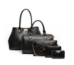 Жіноча сумка набір 5в1 екошкіра чорна