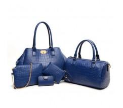 Жіноча сумка набір 5в1 екошкіра синя