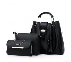 Набор сумок 3в1 черный с кисточками