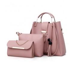 Набор женских сумок 3в1 розовый с кисточками
