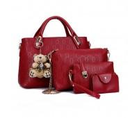 Женская сумка набор 4в1 с брелком красный