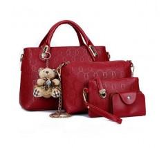Жіноча сумка набір 4в1 з брелком червона