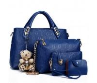 Женская сумка набор 4в1 с брелком синяя