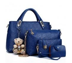 Жіноча сумка набір 4в1 з брелком синя