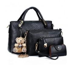 Женская сумка набор 4в1 с брелком черная
