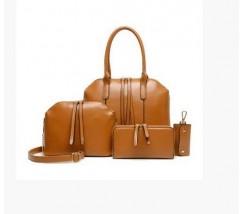 Жіноча сумка велика і маленька, гаманець і ключниця в наборі 4в1 рудого кольору