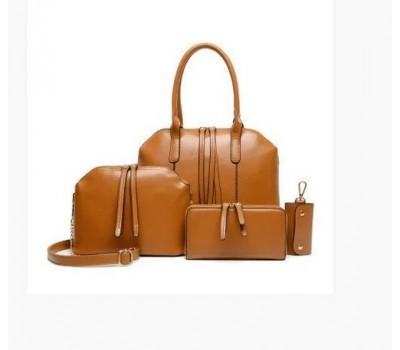 Женская сумка большая и маленькая, кошелек и ключница в наборе 4в1 рыжего цвета