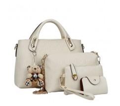 Женская сумка набор 4в1 с брелком бежевая
