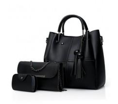 Набор женских сумок 3в1 черный с кисточками