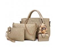 Женская сумка набор 4в1 с брелком золотистая