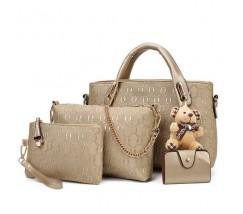 Жіноча сумка набір 4в1 з брелком золотиста