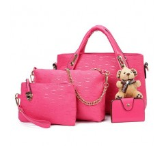 Женская сумка набор 4в1 с брелком розовая