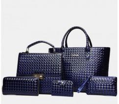 Элегантная женская сумка синяя набор 5в1