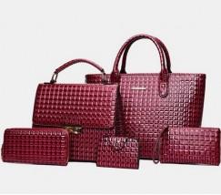 Елегантна жіноча сумка бордова набір 5в1