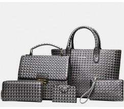 Элегантная женская сумка серая набор 5в1