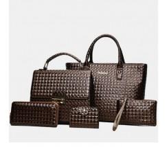 Элегантная женская сумка коричневая набор 5в1