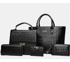 Элегантная женская сумка черная набор 5в1