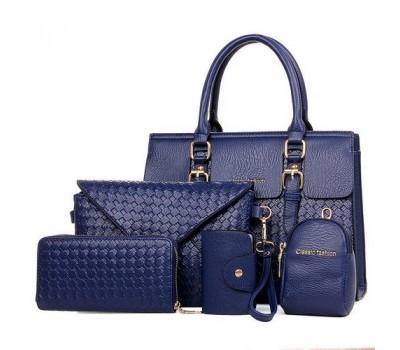 Женская сумка синяя в наборе 5в1