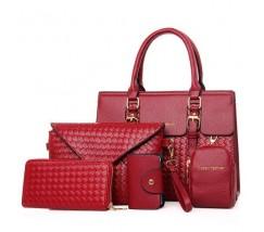 Женская сумка красная в наборе 5в1