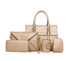 Женская сумка золотая в наборе 5в1