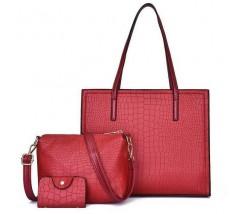 Жіноча червона сумка + клатч набір 3в1