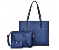 Женская синяя сумка+клатч набор 3в1