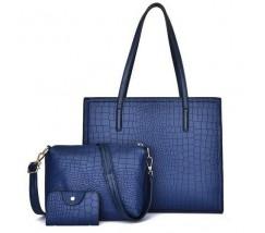 Жіноча синя сумка + клатч набір 3в1