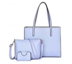 Женская голубая сумка+клатч набор 3в1