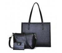 Женская черная сумка+клатч набор 3в1